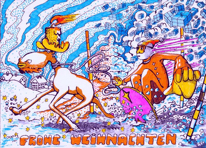 Weihnachtsmann surft mit Elch